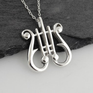 Lyre Pendant Necklace - 925 Sterling Silver