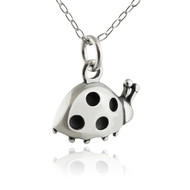 "Sterling Silver Small Ladybug Charm Necklace, 18"" Chain"