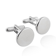 Round Cuff Links, Textured Bar - Stainless Steel