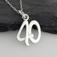Number 40 Charm Necklace - 925 Sterling Silver