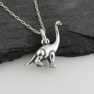 3D Sauropod Dinosaur Necklace - Sterling Silver
