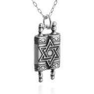 Torah Scrolls Charm Necklace - 925 Sterling Silver - Hebrew Shabbat Jewish