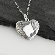 Cat Profile on Heart Necklace - 925 Sterling Silver
