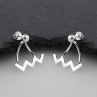 ZigZag Ear Jackets with Ball Stud - Sterling Silver