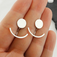 Circle and Curved Bar Ear Jackets - Sterling Silver