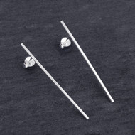 Vertical Bar Post Earrings - Sterling Silver