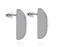 Semicircle Geometric Stud Earrings - Sterling Silver