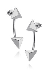 Triangle Geometric Ear Jackets - Sterling Silver