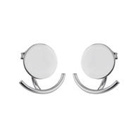 Circle and Short Curved Bar Ear Jacket Earrings - Sterling Silver