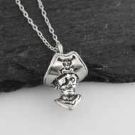 "Sterling Silver Tiny 3D Pirate Necklace, 18"" Chain"