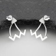 ZigZag Ear Jackets with Triangle Stud - Sterling Silver