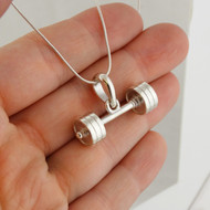 Large Barbell Pendant Necklace - 925 Sterling Silver