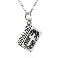 Holy Bible Charm Necklace - 925 Sterling Silver - Religion Book Christian Cross NEW