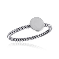 Engravable Small Circle Ring w/ Twisted Band - Sterling Silver