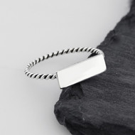 Rectangle Bar Ring - 925 Sterling Silver