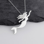 Swimming Mermaid Silhouette Necklace - Sterling Silver