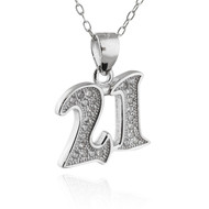 Number 21 Necklace - CZ, Sterling Silver