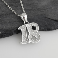 Number 18 Pendant Necklace - Sterling Silver, CZ