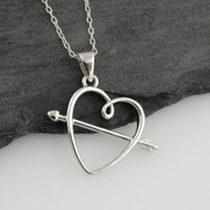 Heart with Arrow Necklace - Sterling Silver