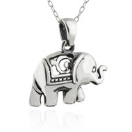 Ceremonial Elephant Pendant Necklace - Sterling Silver