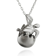 Hatching Baby Sea Turtle Necklace - Sterling Silver