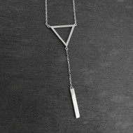 Triangle and Vertical Bar Y-Necklace - Sterling Silver