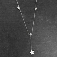 Star with Round CZ Y-Necklace - Sterling Silver