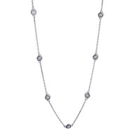 Clear Glass Necklace - Sterling Silver