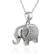 Elephant Profile Necklace - CZ, Sterling Silver