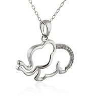 Elephant Outline Necklace - CZ, Sterling Silver