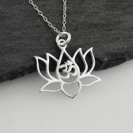 Lotus Flower w/ OM Cutout Necklace - 925 Sterling Silver