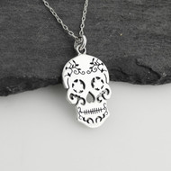 Sugar Skull Cutout Pendant Necklace - Sterling Silver