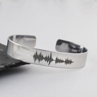 Personalized Audio File Sound Wave Stainless Steel Cuff Bracelet