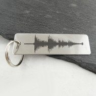 Personalized Rectangle Audio File Sound Wave Stainless Steel Key Chain