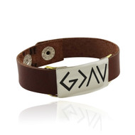 God Is Greater Than The Highs and Lows Engraved Leather Bracelet
