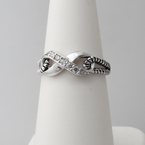 Sterling Silver Infinity Ring with CZ Stones