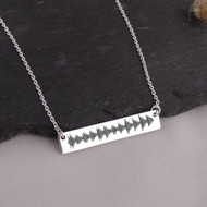 Sound Wave Bar Necklace - 925 Sterling Silver - Audio File Heartbeat Actual Audio File