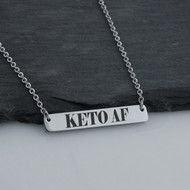 Keto AF Horizontal Bar Necklace - Engraved Stainless Steel