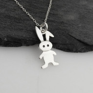 Cartoon Bunny Charm Necklace - 925 Sterling Silver