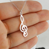 Treble Clef Pendant Necklace - Sterling Silver