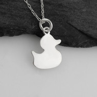 Rubber Duck Silhouette Necklace - Sterling Silver