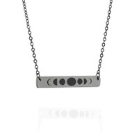 Moon Phases Horizontal Bar Necklace - Engraved Stainless Steel