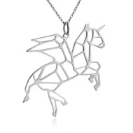 Origami Pegacorn, Winged Unicorn Necklace - Sterling Silver