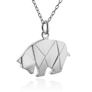 Origami Bear Necklace - 925 Sterling Silver
