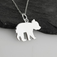 Bear Cub Silhouette Necklace - 925 Sterling Silver