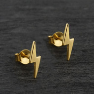 Lightning Bolt Stud Earrings - Gold Plated Brass