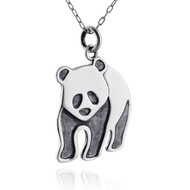 Panda Bear Pendant Necklace - Sterling Silver