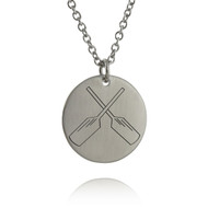 Crossed Rowing Oars Necklace - Engraved Stainless Steel