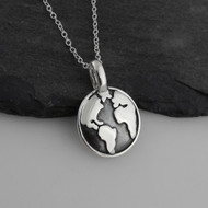 Earth Globe Necklace - 925 Sterling Silver