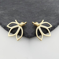 Lotus Petal Ear Jacket Earrings - 14k Gold Plated Sterling Silver